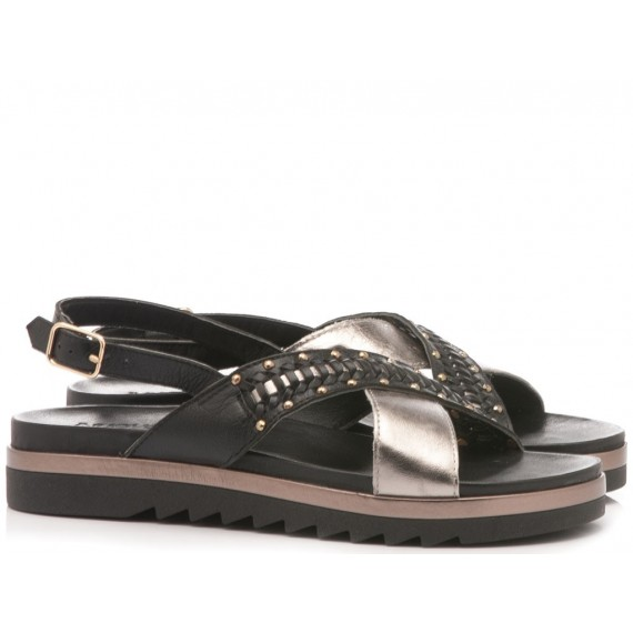 INUOVO Women's Sandals Flat Platform Black 110015