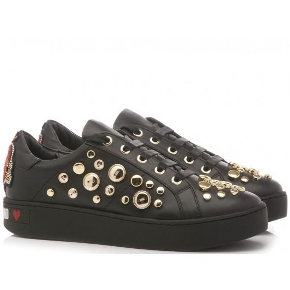 Love Moschino Scarpe-Sneakers Donna Pelle Rosso-Bianco-Grigio