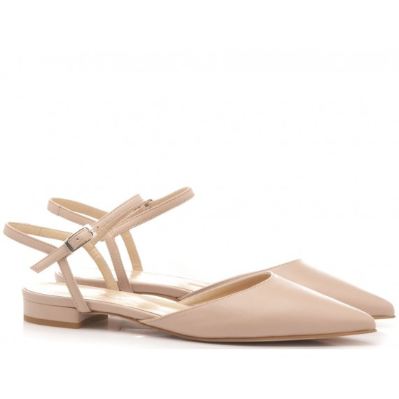 Giulia Santini Women's Ballerina Shoes Leather Nude