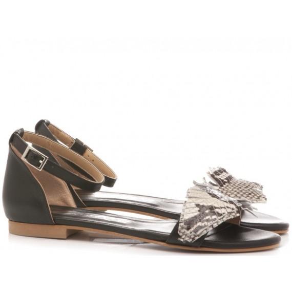 Giacko Women's Flat Sandals Leather Black