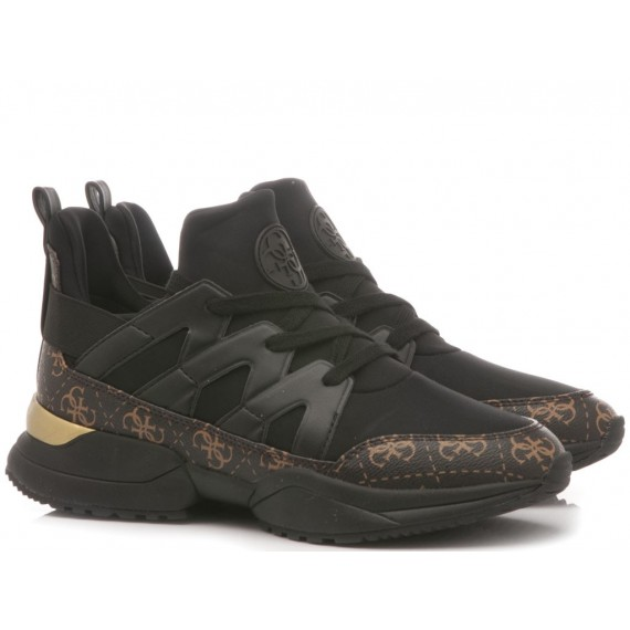 Guess Women's Shoes-Sneakers Leather Black-Gold