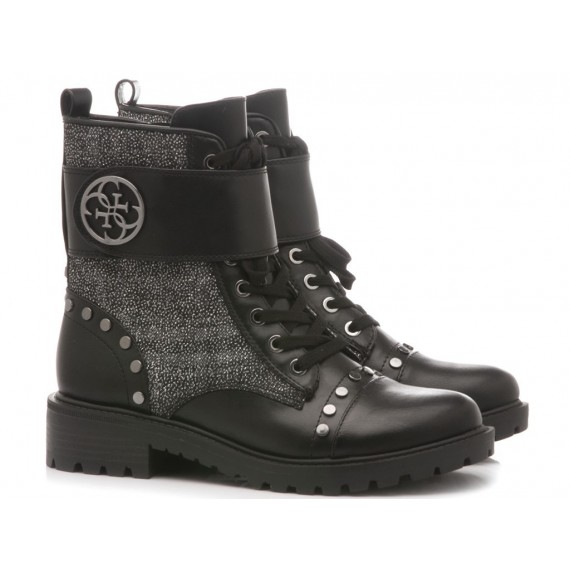 Guess Women's Ankle Boots Leather-Fabric Black
