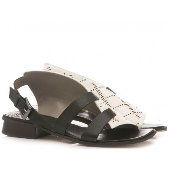 Ixos Women's Sandals Leather Black-White