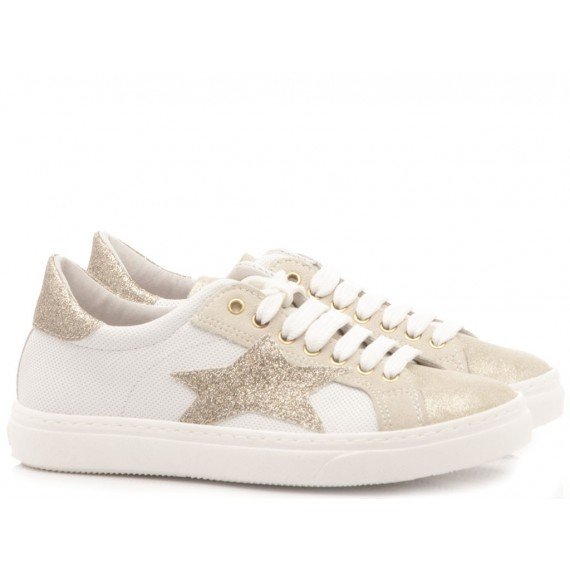 Ciao Sneakers Bambina Pelle Bianco-Oro 3744