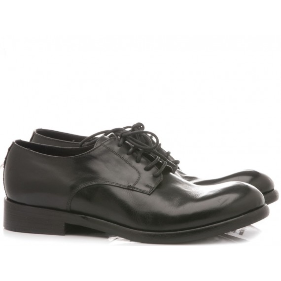 JP David Men's Shoes Leather Diver Black