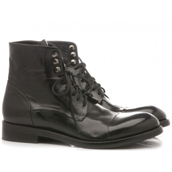 JP David Men's Shoes Ankle Boots Leather Diver Black