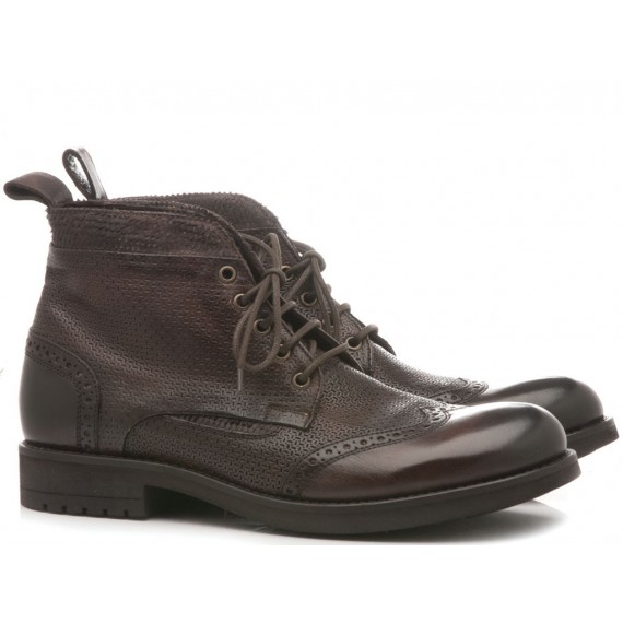 JP David Men's Shoes Ankle Boots Leather Papua Brown