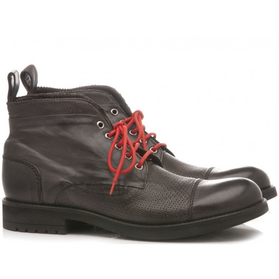 JP David Men's Shoes Ankle Boots Leather Papua Grey