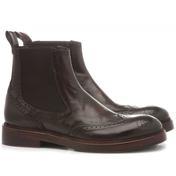 JP David Men's Ankle Boots Leather Candy Cordovan