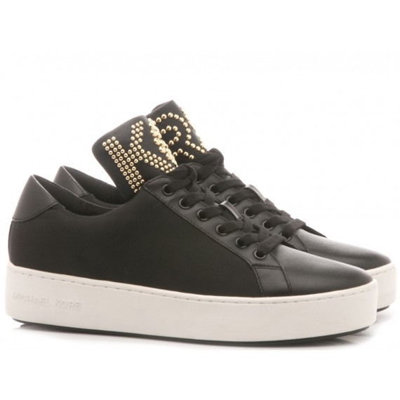 Michael Kors Women's Sneakers Mindi Lace Up Leather Black