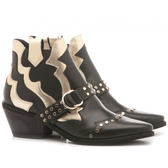 Guess Women's Ankle Boots Leather Black-Gold