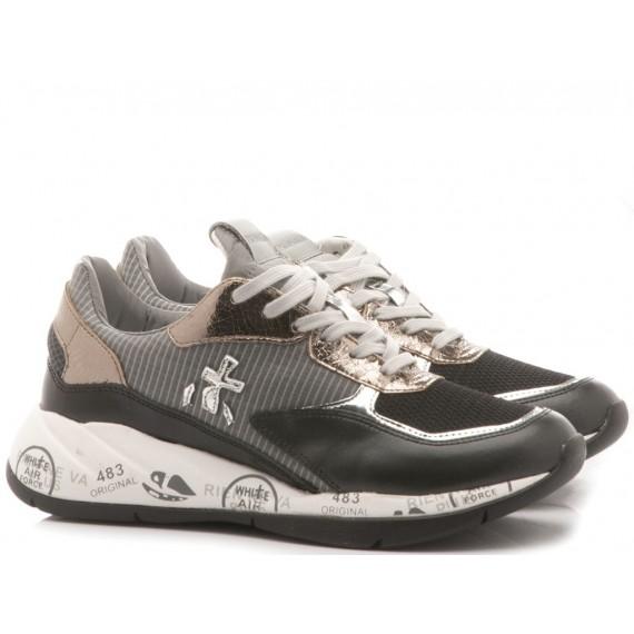 Premiata Sneakers Donna Conny Pelle e Velluto Nero 1621