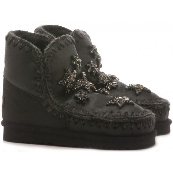 MOU Women's Ankle Boots Eskimo 18 Crystal Stars Black