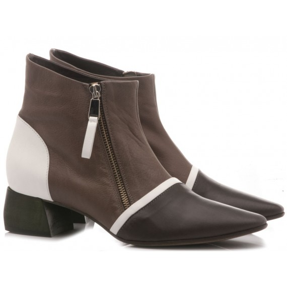 Ixos Women's Shoes Ankle Boots Leather Taupe