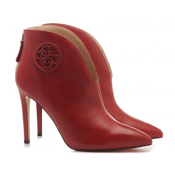 Guess Women's Ankle Boots Leather Red