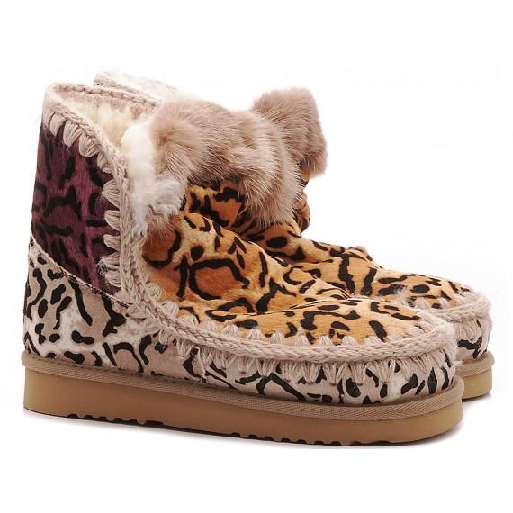 MOU Women's Ankle Boots Eskimo Pony Skin Patchwork