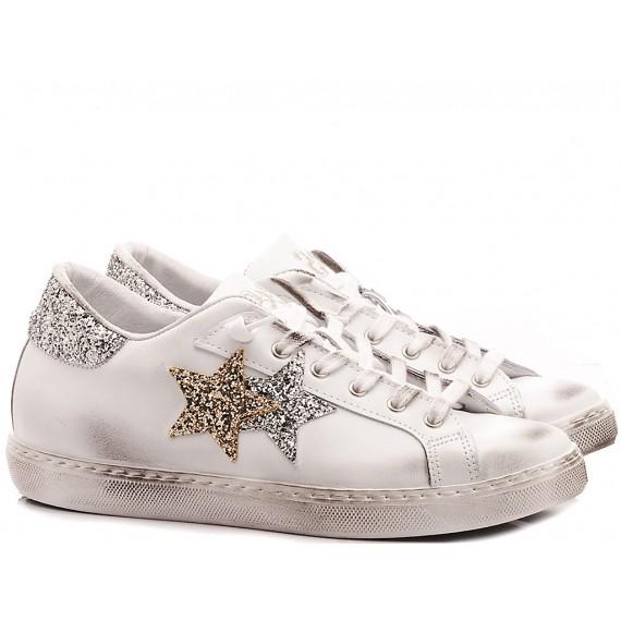 2-Star Women's Low Sneakers White Silver