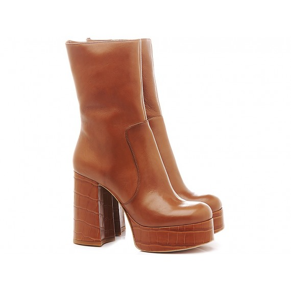 Ettore Lami Woman's Ankle Boots Leather Brown