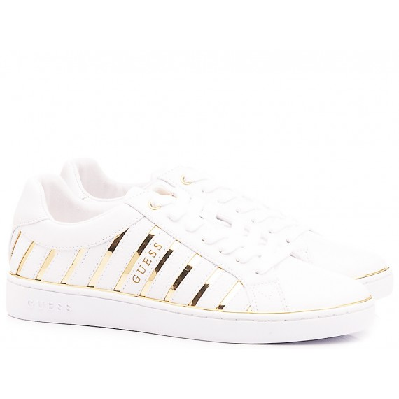 Guess Women's Shoes-Sneakers White-Gold