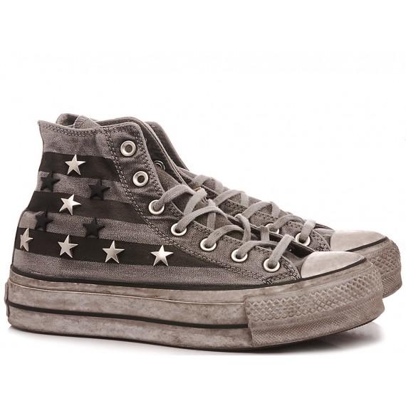 Converse All Star Sneakers Alte Donna HI Canvas Ltd Glitter Bianco-Oro