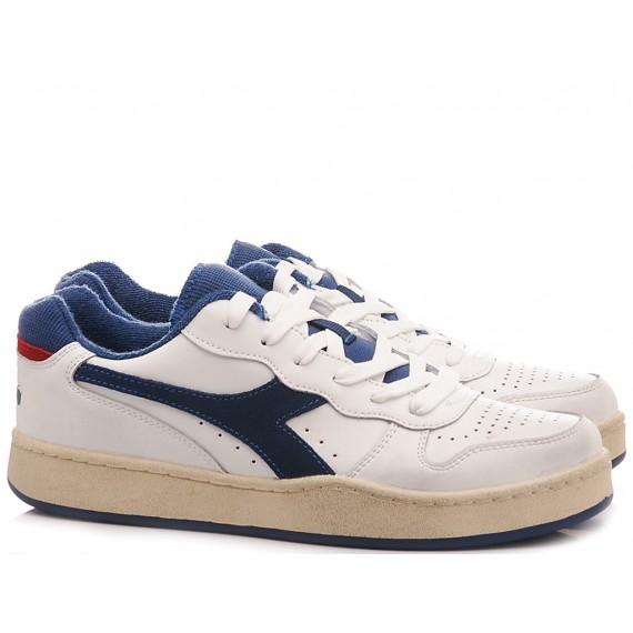 Diadora Men's Sneakers Mi Basket Low Used White-Blu