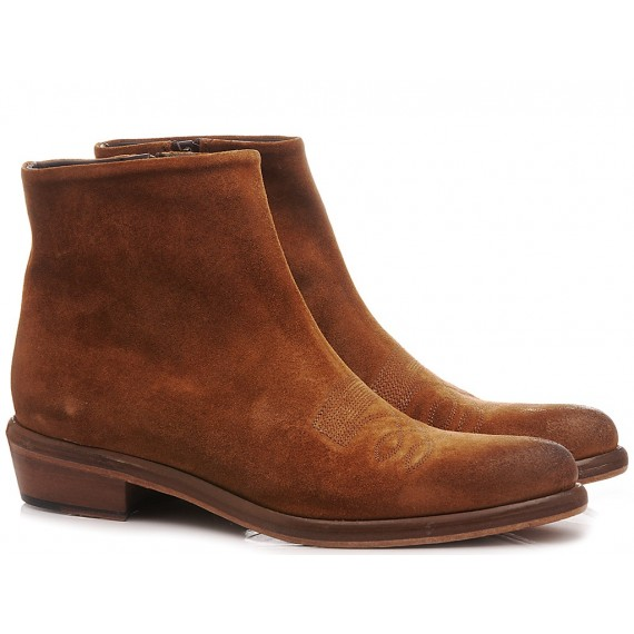 JP David Men's Ankle Boots Suede Brown