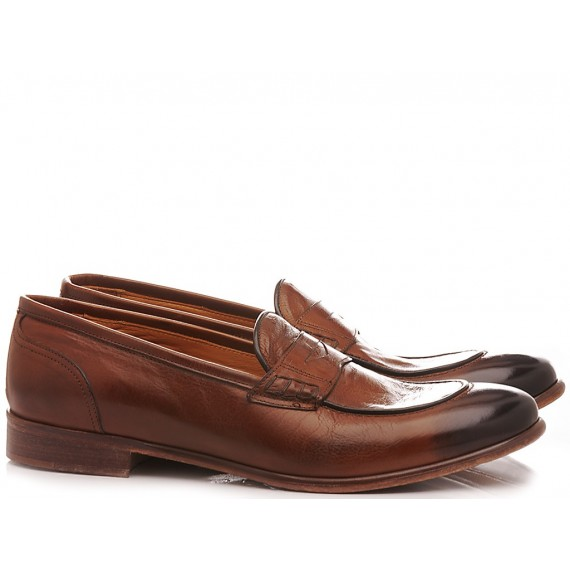 JP David Men's Shoes Loafers Leather Brown 37012/1
