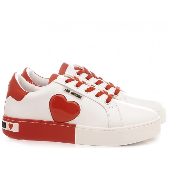 Love Moschino Women's Shoes-Sneakers White-Red