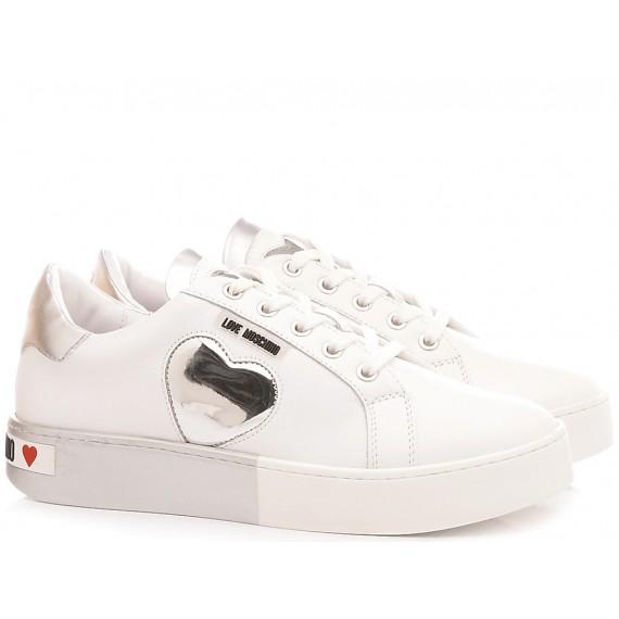 Love Moschino Scarpe Sneakers Donna Bianco-Argento