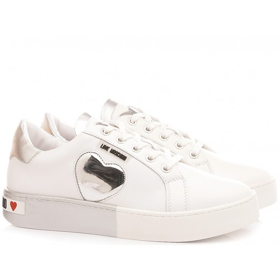 Love Moschino Women's Shoes-Sneakers White-Silver