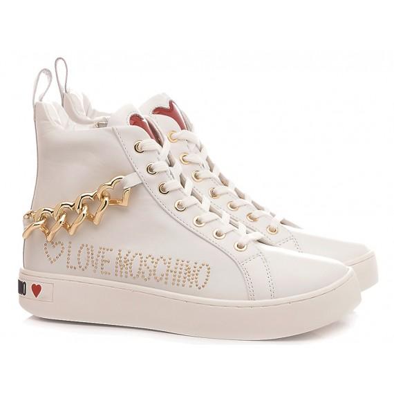 Love Moschino Scarpe Sneakers Donna Bianco-Oro