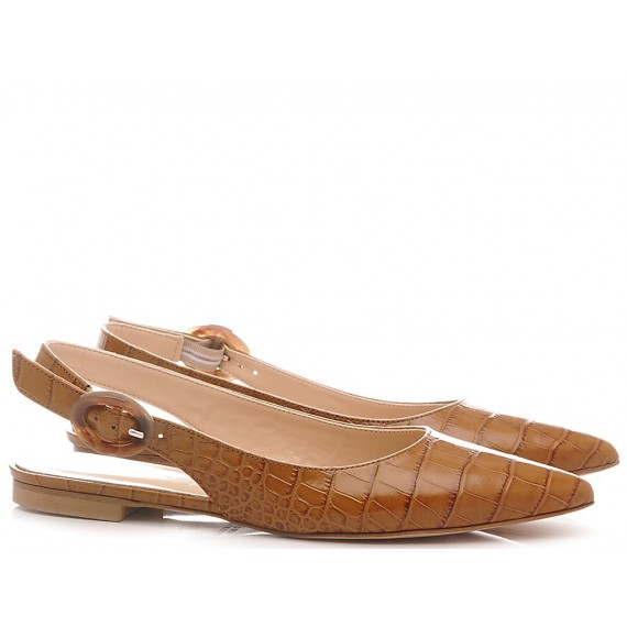 Les Autres Women's Ballerina Shoes Leather Brown 1980