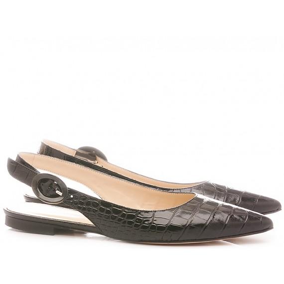 Damen Ballerina Schuhe Les Autres Leder schwarze Farbe 1980