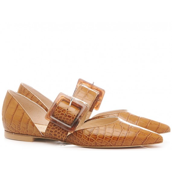 Damen Ballerina Schuhe Les Autres Leder braune Farbe 1979