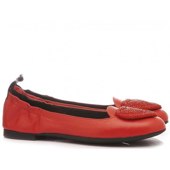 Love Moschino Damen Ballerina Schuhe Rot