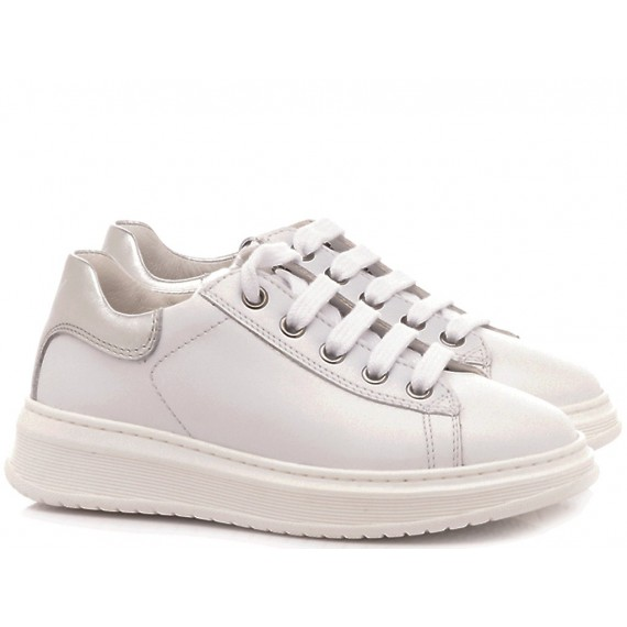 Naturino Scarpe Sneakers Basse Bambina Pelle Bianco-Argento