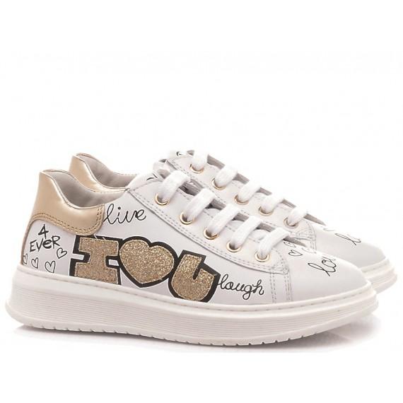 Naturino Scarpe Sneakers Basse Bambina Pelle Bianco-Oro