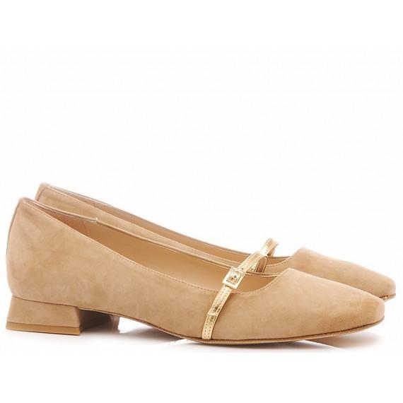 Damen Ballerina Schuhe Les Autres Wildleder Sandfarbe 269