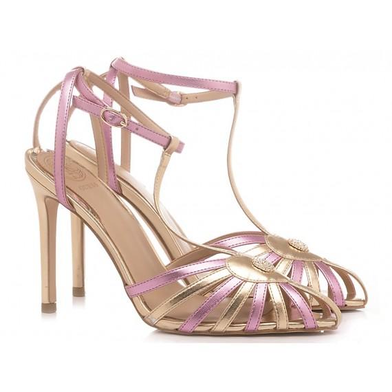 Guess Damensandalen Gold-Pink Farbe