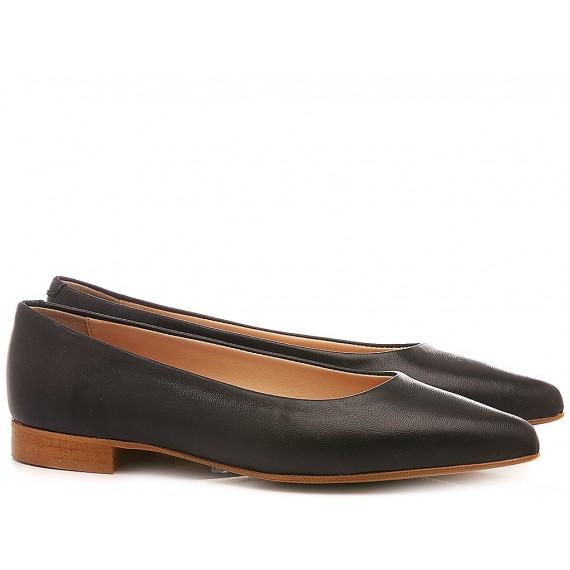 Lamica Women's Ballerina Shoes Leather Black E20 Selena