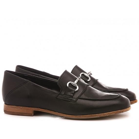Kammi Women's Shoes Loafers Leather Black JJA12