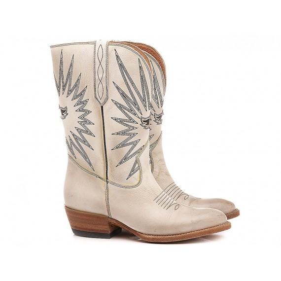 Mezcalero Texanische Stiefel für Frauen Weiße Farbe