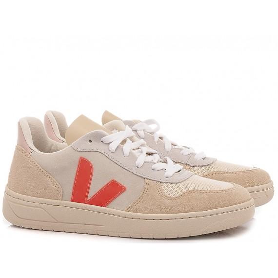 Damenschuhe Veja V-10 Wildleder Weiß VX032188