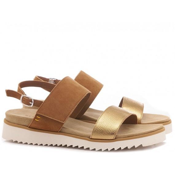 Benvado Women's Shoes-Sandals 36002023 Suede Tan-Gold