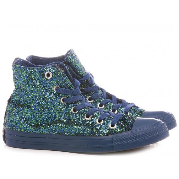 Converse All Star Personalisiert Mit blauer und grüner Glitzer