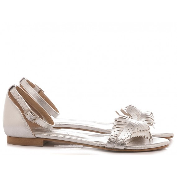 Giacko Women's Flat Sandals Leather Silver