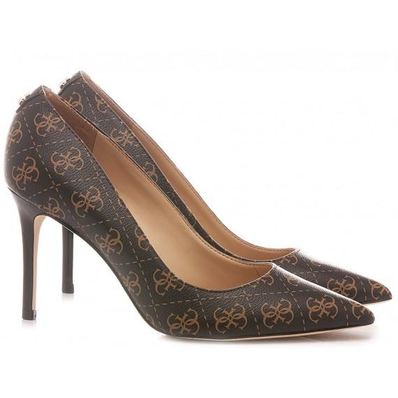 Guess Women's Shoes Decollété Logo Brown