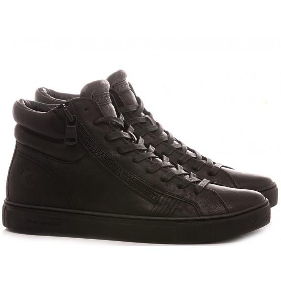 Crime London Men's Sneakers High Top Double Zip Black