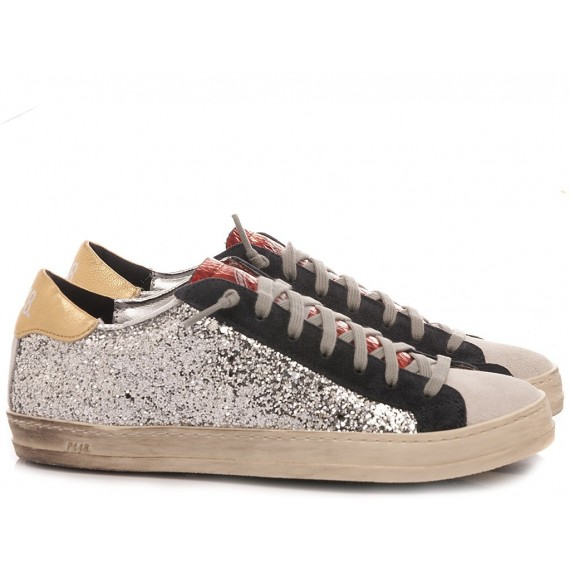 P448 Women's Low Sneakers S20JOHN-W Glitter Silver