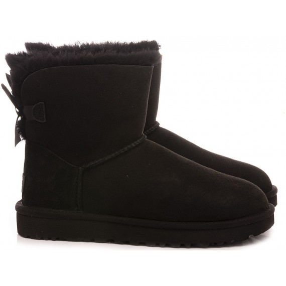 UGG Women's Ankle Boots W Mini Bailey Bow II Black Suede